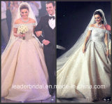 Luxuxrhinestones-Brautballkleid-Raupe-Kristallkathedrale-königliches Hochzeits-Kleid G1866