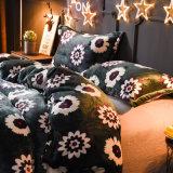 Velo Polar Coral de poliéster flanela de lençóis de cama de PCS 4 Set