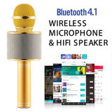 Samrt 전화를 위한 새로운 휴대용 Bluetooth 무선 Ws 858 입체 음향 KTV Karaoke 마이크 지원 TF 카드