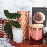 Venta caliente cobre Rosa perfumada de Vidrio Velas Jar para la decoración del hogar y la promoción