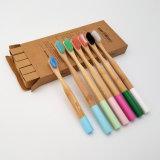 Красочные раунда ручку детей и взрослых зубную щетку из бамбука, мягкий и среднего бисфенол-А, пластиковый пакет бесплатно