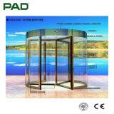 Puerta giratoria de cristal automática real con color del oro