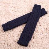 Aquecedores de braço longo coloridos de moda, Padrão de tricotar luvas mais quentes do lado de lã grosso