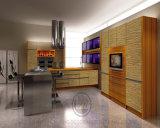 モジュラープロジェクトの現実的な現代光沢度の高い木の穀物の食器棚