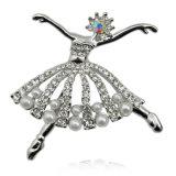 Мода малых балет танцовщица серебряный позолоченный CZ Rhinestone Pearl Brooch