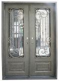 Portello esterno del ferro superiore quadrato con il disegno di vetro Tempered Nizza