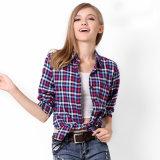 女性のブラウスの格子縞のシャツのCasual Shirt長い袖の女性の綿ワイシャツの上の女性