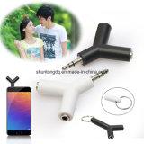 double Jack adaptateur de 3.5mm à l'écouteur pour Samsumg pour l'adaptateur de diviseur d'écouteur de lecteur MP3 d'iPhone blanc/noir