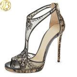 Nouvelle Mode féminine Les poissons de la bouche Stiletto Chaussures dentelle Lady sandale