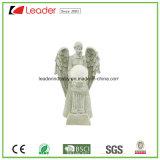 Statua bianca di angelo della resina con indicatore luminoso solare per gli ornamenti del giardino