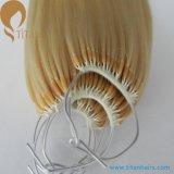 O nó da corda do algodão baseou a extensão do cabelo de Remy da queratina