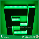 녹색 LED 색깔 Backlit 채널 편지