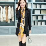 高品質のAntumnの女性の折りえりのカシミヤ織のベルトが付いている長いParkaのジャケット