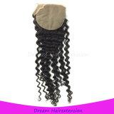 La chiusura del merletto di Silkbase candeggiata annoda la chiusura riccia brasiliana dei capelli del Virgin