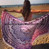 円のビーチタオルのあたりで印刷される綿