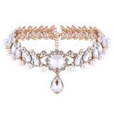 方法贅沢なダイヤモンドのラインストーンの真珠の吊り下げ式のチョークバルブのネックレスの宝石類