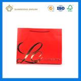 Bolsa de papel que hace compras modificada para requisitos particulares promocional con la impresión a todo color (punto de la insignia ULTRAVIOLETA)