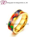 De unisex- Ring van het Roestvrij staal van de Ring van het Staal van het Email 18k Goud Geplateerde