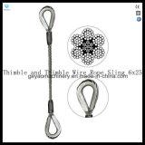 Eslingas de corda de fio de perna única - Gancho de olho e olho 6X25 Iwrc