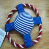 흥미로운 면 밧줄 플라스틱 원반 애완 동물 장난감
