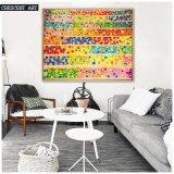 Peinture à l'huile abstraite colorée sur toile avec cadre