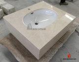 Parte superior de mármore bege da vaidade do banheiro da pedra da bancada com dissipador Integrated
