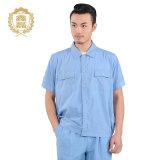 Do Workwear azul dos pintores do OEM uniforme uniforme do Workwear da luva do Short do algodão do verão
