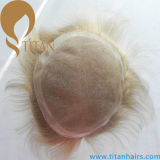 Blonde Color Hair System Mono Base Toupee para homem