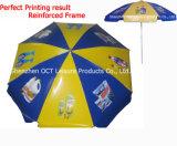 Parapluie de plage robuste de qualité en côtes doubles et couverture en PVC