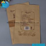Saco de embalagem de papel com papel impresso personalizado reciclado Kraft, saco de comida de papel para loja