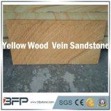 Tuile en bois de grès de veine de couleur jaune chinoise avec le fini rectifié