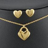 [شينم] مجوهرات [316ل] [ستينلسّ ستيل] نمط نوع ذهب يصفح عقد مع أذن دعامة ([سّنل2646])