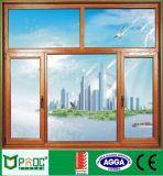 Finestra di vetro di alluminio del grano di legno per inclinazione e la girata Pnoc0008ttw
