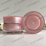 frasco de creme acrílico da cintura cor-de-rosa de 5g 15g 30g 50g para o empacotamento do cosmético (PPC-ACJ-125)