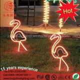 방수 정원은 분홍색 LED 제 2 홍학 조각품 크리스마스를 위한 네온 주제 빛을 장식한다