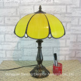 Желтый стеклянный светильник таблицы Тиффани оптовой продажи светильника основания смолаы типа Тиффани