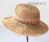 여름 밀짚 고품질 파나마 중절모 여자 소녀 모자