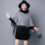 Lederner Franse-Poncho der Dame-Fashion Viscose Nylon Knitted (YKY2066)