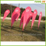 Pássaro de fibra de vidro Customed Teardrop Beach Feather Flying Flag