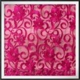 ナイロン地上の花の網の刺繍のレースファブリック