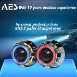 2013 Carro Farol projetor com duas lentes do projetor Bi-Xénon Angel Olhos (H4, H7)