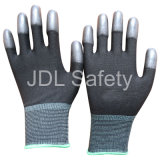 Черная Nylon перчатка при PU покрынный на напальчниках (PN8013)