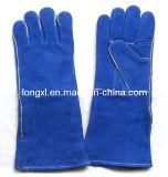 파란 색깔 암소 쪼개지는 가죽 일 장갑, 가죽 용접 장갑