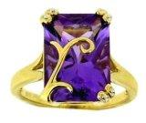 anello di oro giallo 10k con l'ametista (LRG1015)