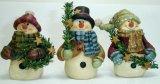 Polyresin muñeco de nieve la celebración de ramas (SH-27043)