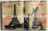 Arte di legno della parete di figura del libro dell'unità di elaborazione Leather/MDF della Torre Eiffel