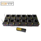 12 indicazioni alimentate dal sistema di accensione freddo dei fuochi d'artificio della base della fontana di uso dell'interno di effetto di fase di telecomando della batteria 9V (DZB01r-12)