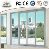 Portes en verre en plastique de tissu pour rideaux de la fibre de verre bon marché UPVC/PVC des prix d'usine de prix concurrentiel avec le gril à l'intérieur