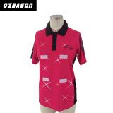 Chemise de polo courte estampée par coutume de chemise, chemise de polo de jeu de Netball avec le Velcro