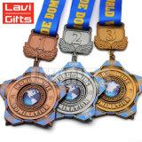 上の安の販売の卸売賞の大きい金属の金のリボンが付いている回転のスポーツメダル